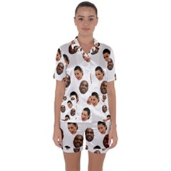 Crying Kim Kardashian Satin Short Sleeve Pyjamas Set