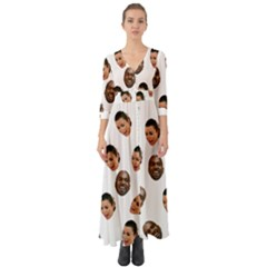 Crying Kim Kardashian Button Up Boho Maxi Dress