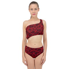 Red Earth Texture Spliced Up Two Piece Swimsuit