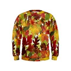 Autumn Fall Leaves Kids  Sweatshirt