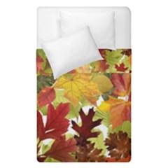 Autumn Fall Leaves Duvet Cover Double Side (single Size) by LoolyElzayat