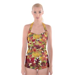 Autumn Fall Leaves Boyleg Halter Swimsuit