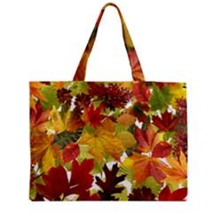 Autumn Fall Leaves Zipper Medium Tote Bag
