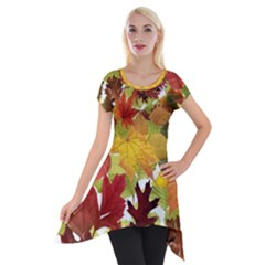Autumn Fall Leaves Short Sleeve Side Drop Tunic
