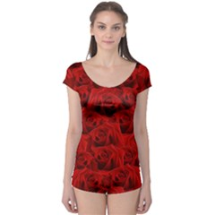 Romantic Red Rose Boyleg Leotard