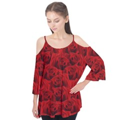 Romantic Red Rose Flutter Tees by LoolyElzayat
