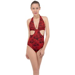 Romantic Red Rose Halter Front Plunge Swimsuit