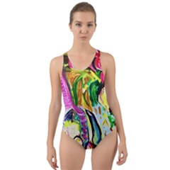 Lilac And Lillies 2 Cut Out Back One Piece Swimsuit