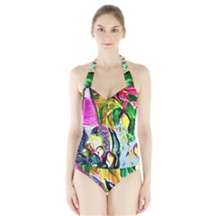 Lilac And Lillies 2 Halter Swimsuit