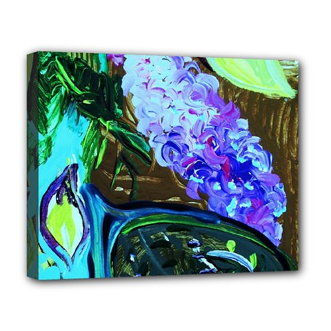 Lilac And Lillies 1 Deluxe Canvas 20  X 16   by bestdesignintheworld