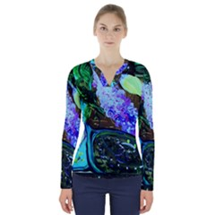 Lilac And Lillies 1 V Neck Long Sleeve Top