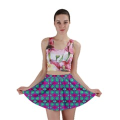 Pink Green Turquoise Swirl Pattern Mini Skirt