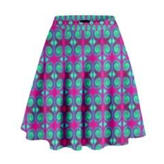 Pink Green Turquoise Swirl Pattern High Waist Skirt by BrightVibesDesign