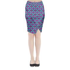 Pink Green Turquoise Swirl Pattern Midi Wrap Pencil Skirt