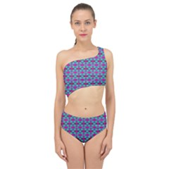 Pink Green Turquoise Swirl Pattern Spliced Up Two Piece Swimsuit
