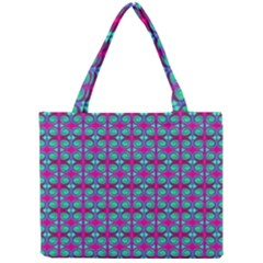Pink Green Turquoise Swirl Pattern Mini Tote Bag by BrightVibesDesign