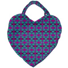 Pink Green Turquoise Swirl Pattern Giant Heart Shaped Tote by BrightVibesDesign
