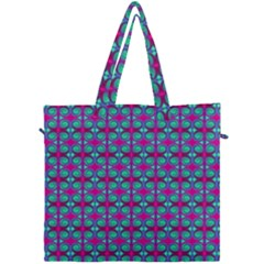 Pink Green Turquoise Swirl Pattern Canvas Travel Bag by BrightVibesDesign