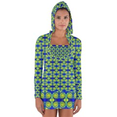 Blue Yellow Green Swirl Pattern Long Sleeve Hooded T Shirt