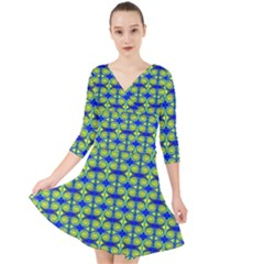 Blue Yellow Green Swirl Pattern Quarter Sleeve Front Wrap Dress