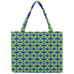 Blue Yellow Green Swirl Pattern Mini Tote Bag by BrightVibesDesign