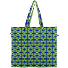 Blue Yellow Green Swirl Pattern Canvas Travel Bag by BrightVibesDesign