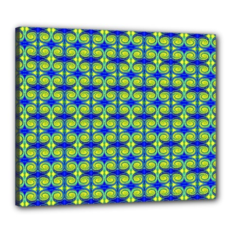 Blue Yellow Green Swirl Pattern Canvas 24  X 20  by BrightVibesDesign