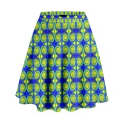 Blue Yellow Green Swirl Pattern High Waist Skirt