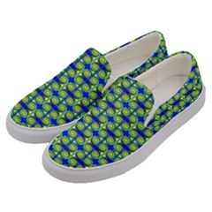 Blue Yellow Green Swirl Pattern Men s Canvas Slip Ons by BrightVibesDesign