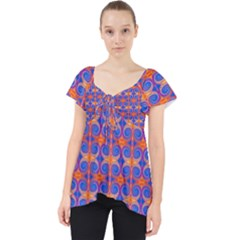 Blue Orange Yellow Swirl Pattern Lace Front Dolly Top