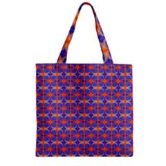 Blue Orange Yellow Swirl Pattern Zipper Grocery Tote Bag