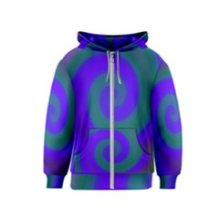 Swirl Green Blue Abstract Kids  Zipper Hoodie