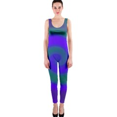 Swirl Green Blue Abstract One Piece Catsuit