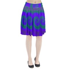 Swirl Green Blue Abstract Pleated Skirt by BrightVibesDesign