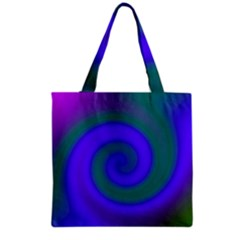 Swirl Green Blue Abstract Grocery Tote Bag by BrightVibesDesign