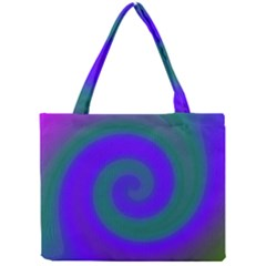 Swirl Green Blue Abstract Mini Tote Bag by BrightVibesDesign