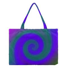 Swirl Green Blue Abstract Medium Tote Bag by BrightVibesDesign
