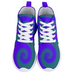 Swirl Green Blue Abstract Women s Lightweight High Top Sneakers by BrightVibesDesign