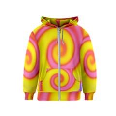 Swirl Yellow Pink Abstract Kids  Zipper Hoodie