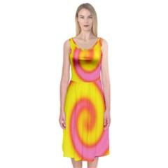 Swirl Yellow Pink Abstract Midi Sleeveless Dress