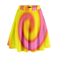 Swirl Yellow Pink Abstract High Waist Skirt by BrightVibesDesign