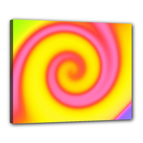 Swirl Yellow Pink Abstract Canvas 20  X 16
