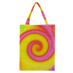 Swirl Yellow Pink Abstract Classic Tote Bag by BrightVibesDesign