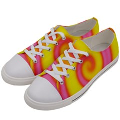 Swirl Yellow Pink Abstract Women s Low Top Canvas Sneakers by BrightVibesDesign