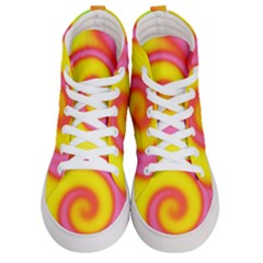 Swirl Yellow Pink Abstract Men s Hi Top Skate Sneakers