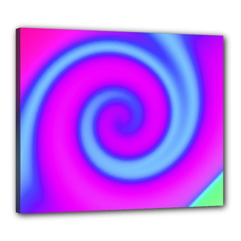 Swirl Pink Turquoise Abstract Canvas 24  X 20  by BrightVibesDesign