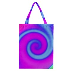 Swirl Pink Turquoise Abstract Classic Tote Bag by BrightVibesDesign