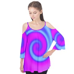 Swirl Pink Turquoise Abstract Flutter Tees