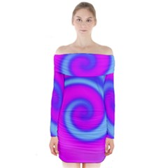 Swirl Pink Turquoise Abstract Long Sleeve Off Shoulder Dress