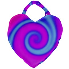 Swirl Pink Turquoise Abstract Giant Heart Shaped Tote by BrightVibesDesign